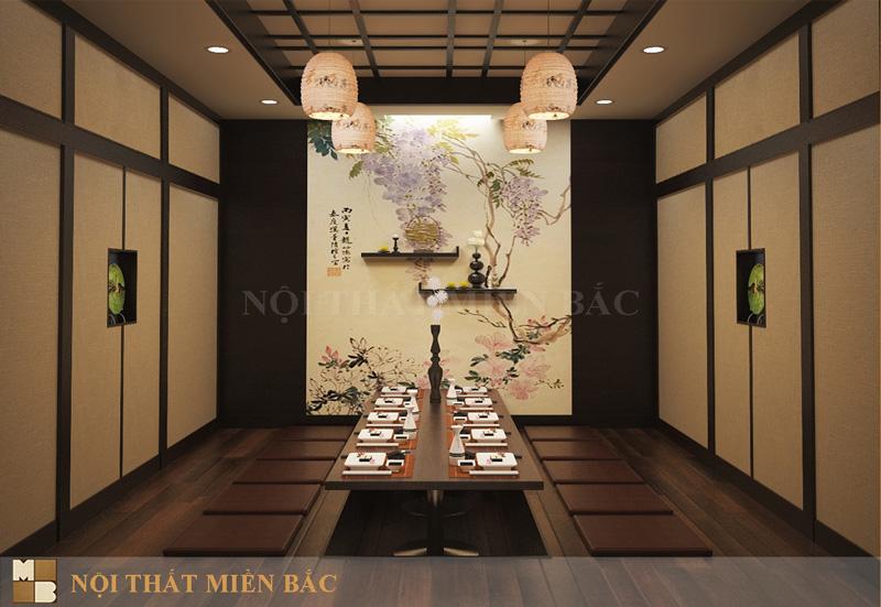Trang trí nhà hàng với đèn lồng truyền thống trong thiết kế nhà hàng phong cách Nhật