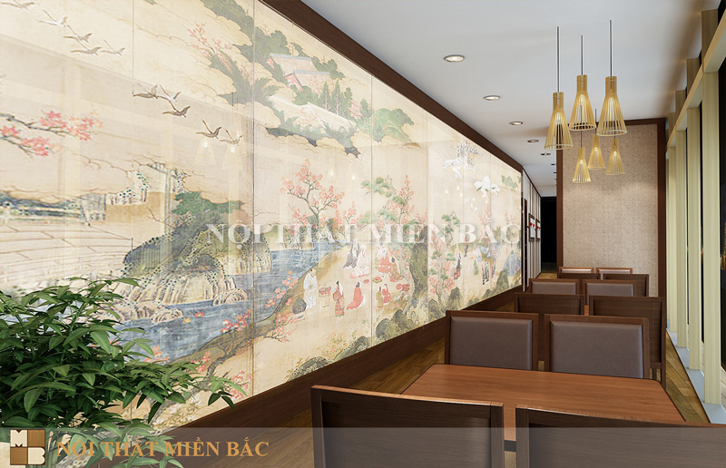 Trang trí tranh tường trong thiết kế nhà hàng sang trọng