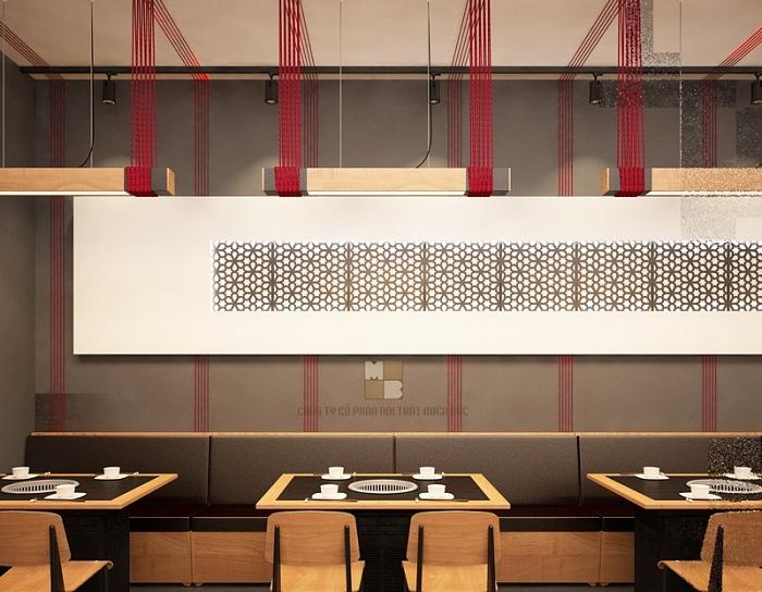 Thiết kế nội thất nhà hàng Hàn hiện đại gam màu đậm chất Hàn được sử dụng nhiều nhất đó chính là gam màu ấm nóng