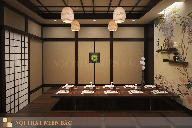 Thiết kế thi công nội thất nhà hàng Nhật hiện đại