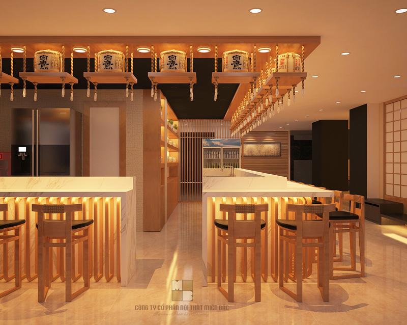 Tư vấn thiết kế nhà hàng Nhật không gian sảnh đậm chất truyền thống