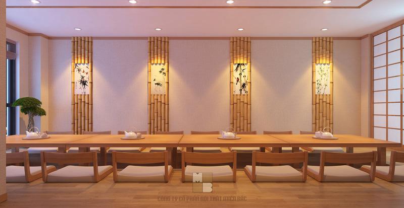 Tư vấn thiết kế nhà hàng Nhật khu vực ăn uống với ánh sáng huyền ảo