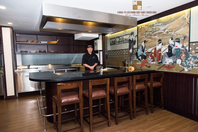 Phong cách Tepanyaki trong thiết kế nội thất nhà hàng Nhật Bản